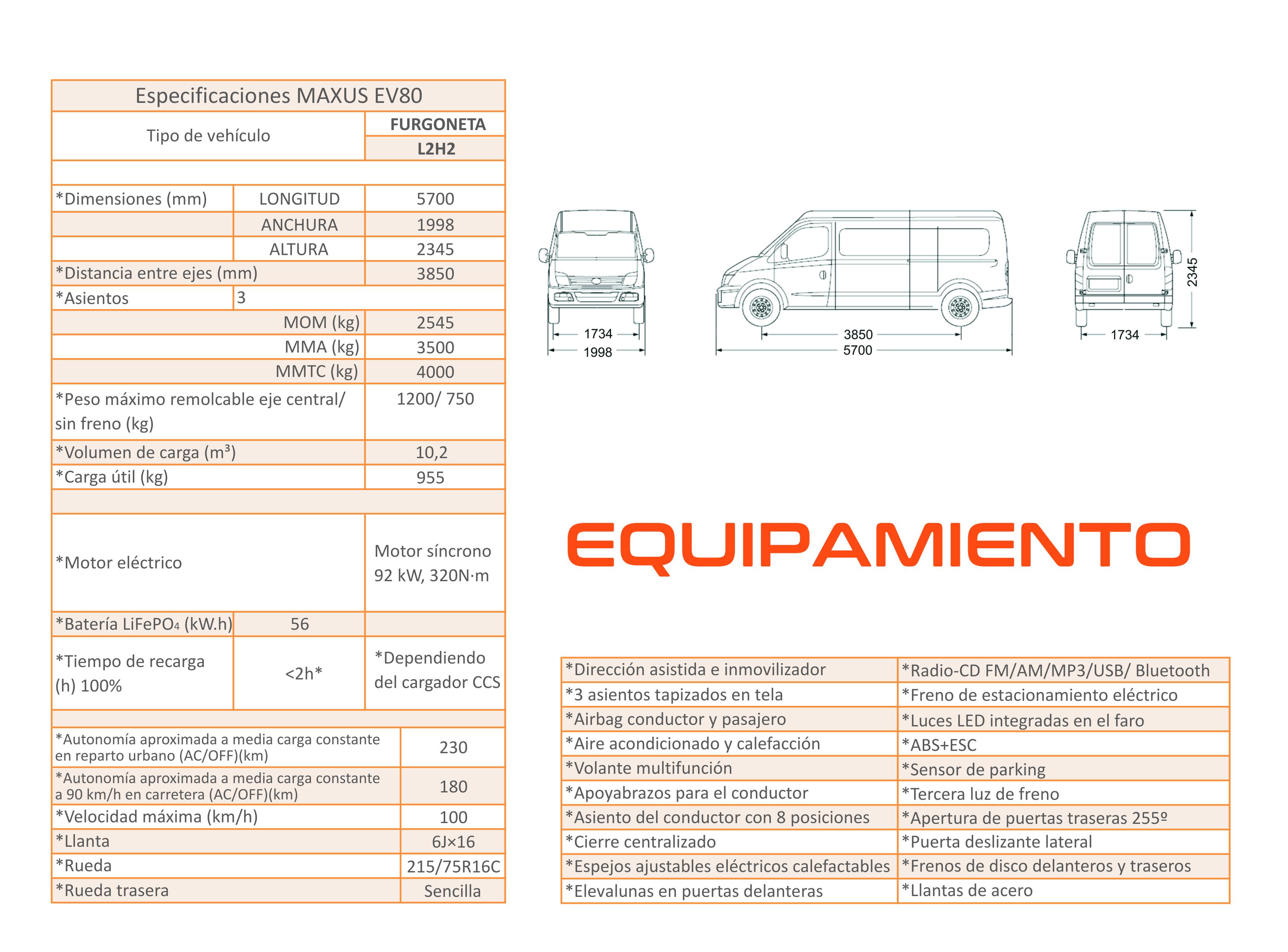 Equipamiento tecnico Maxus EV80 L2H2