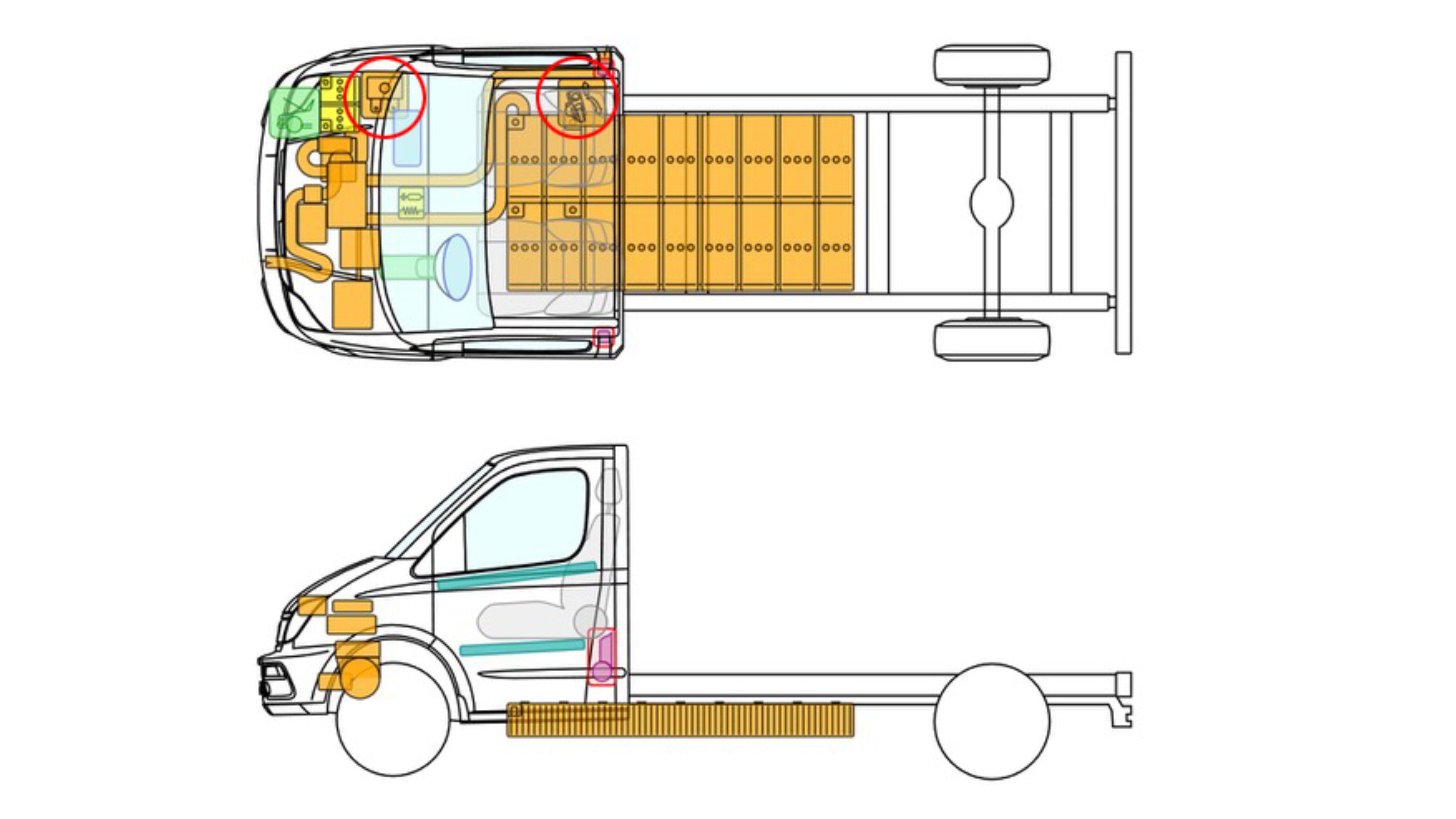 batería ion litio en un camion
